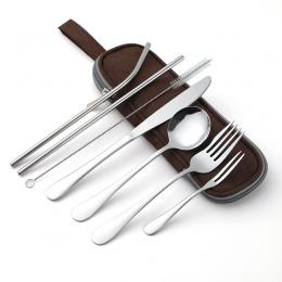 Zestaw obiadowy podróży sztućce kampingowe zestaw wielokrotnego użytku ze srebra z metalowym słomy łyżka widelec pałeczki i prze