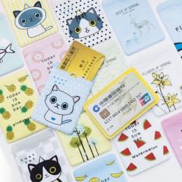 CUSHAWFAMILY Cute Cartoon ryby, owoce, kot pcv etui na karty karty IC karty kredytowe karty studenckie futerał ochronny dla dzie
