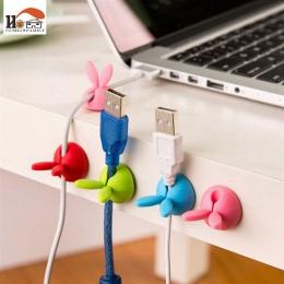 CUSHAWFAMILY 4 sztuk królik ucha silikon pulpit winder organizer do kabli kabel biuro w domu słuchawki komputerowe szpulki przew