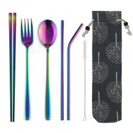 JANKNG przenośne podróży Dinneware zestaw 304 widelec ze stali nierdzewnej miarka pałeczki słomy Silverwar zestaw Rainbow sztućc