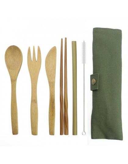 6-sztuka przenośny luksusowy obiadowy japoński zestaw drewnianych sztućców sztućce bambusowe słomy z płócienna torba naczynia ku