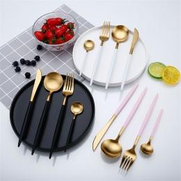 Różowe złoto zestaw stołowy zestaw sztućców ze stali nierdzewnej zachodniej żywności zastawa stołowa luksusowe widelec łyżeczka