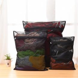 Nowy 1 PC pralka do odzieży pranie torba z zamkiem błyskawicznym Nylon Mesh netto biustonosz worek do prania 5 rozmiarów czarny