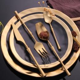 Zestaw sztućców ze stali nierdzewnej złota obiadowy zestaw zachodniej żywności sztućce stołowe obiadowy prezent na Boże Narodzen