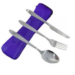 ITECHOR zestaw sztućców ze stali nierdzewnej zestaw obiadowy zestawy lekki odkryty przenośny zestaw stołowy z płócienna torba Lu