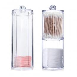 Akrylowy wielofunkcyjny okrągły Qtip pojemnik kosmetyczny bawełniana gąbeczka do makijażu organizator biżuteria pudełko do przec