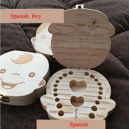 Angielski/hiszpański drewniane pudełko zębów organizator zapisać zęby mleczne pudełko do przechowywania zębów prezent pępowina L