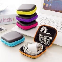 Hot Mini Zipper twardy futerał na słuchawki PU skóra torebka na słuchawki ochronne organizer na kable USB, przenośne etui na słu
