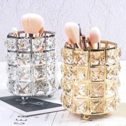 Europa Metal pędzel do makijażu rury do przechowywania ołówek do brwi makijaż Organizer koralik kryształ biżuteria pudełko do pr