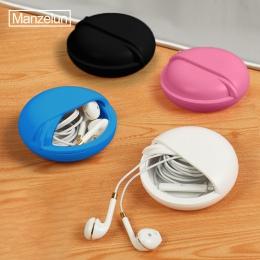 Okrągły słuchawki drut pudełko organizator linia danych kable do przechowywania obudowa z tworzywa sztucznego pojemnik biżuteria