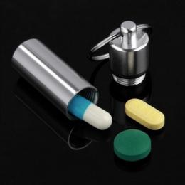 Nowy brelok do kluczy medycyna Pill butelki pudełko aluminium Storage Case medycyna pojemnik Box