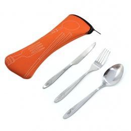 Zestaw sztućców ze stali nierdzewnej zestaw obiadowy zestawy lekki przenośny podróży zestaw stołowy z płócienna torba Lunch zest