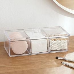 Przezroczysty przezroczysty akrylowy organizer wacik box makijaż klocki pudełko do przechowywania organizer na biurko biżuteria
