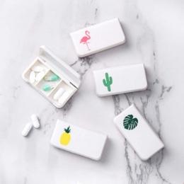 Pigułki zestaw medyczny Tablet Flamingo kaktus liść Pillbox dozujące dozownik mały zestaw organizator Case z 3 kraty dachowe do