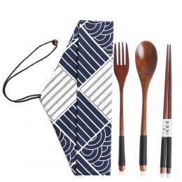 Przydatne łyżka widelec pałeczki przenośne zastawa stołowa drewniane sztućce zestawy obiadowy garnitur środowiska z tkaniny opak