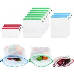 12 sztuk wielokrotnego użytku siatki torby z siatki zmywalne torby na zakupy spożywcze przechowywanie owoców warzywa zabawki org