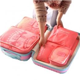6 sztuk podróży worek do przechowywania zestaw na ubrania Tidy organizator szafa walizka etui podróży organizator torba Case but