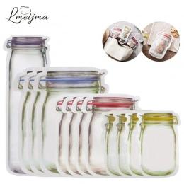 LMETJMA 12 sztuk Mason Jar torby na zamek błyskawiczny wielokrotnego użytku pojemnik na przekąski Saver torba szczelne żywności
