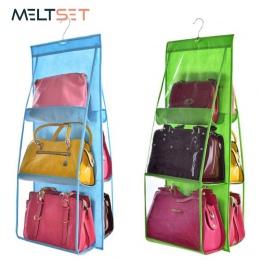 6 kieszeni wiszące torebka organizator dla szafa szafa przezroczysty worek do przechowywania drzwi ściany jasne różne torba na b