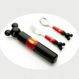 Dzieci stereo mickey głowy widelec ze stali nierdzewnej przenośny dziecko zapakowany zestaw zastawa stołowa składający się z szk