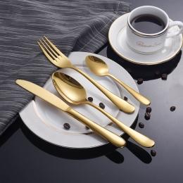 Złoty zestaw stołowy sztućce ze stali nierdzewnej zestaw 4 złoty nóż sztućce sztućce złoto srebro nóż obiad pakiet europejski st