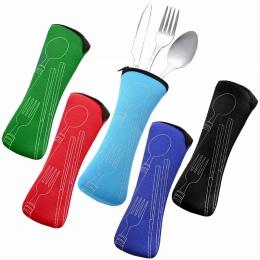 Hoomall 3 sztuk/zestaw zestaw obiadowy ze stali nierdzewnej przenośne podróży sztućce kampingowe zestaw stołowy obiadowy zestaw