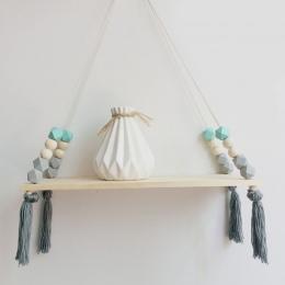 Nordic styl Drewniany koralik frędzle stojak do przechowywania liny ścienne półka wisząca na wystrój sypialnia salon kuchnia biu