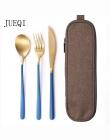 JueQi zestaw obiadowy zestaw sztućców ze stali nierdzewnej poszycia złoty niebieski czarny nóż widelec zastawa stołowa sztućce W