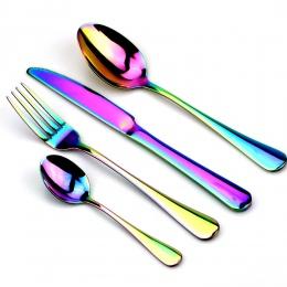Nowoczesna zastawa stołowa ze stali nierdzewnej w oryginalnym kolorze kameleona elegancki zestaw obiadowy metalowe sztućce