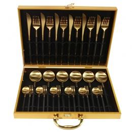 KuBac 30-kawałki czarny złoty obiadowy zestaw 18/10 ze stali nierdzewnej obiad kolacja nóż widelec biały zestaw złotych sztućców