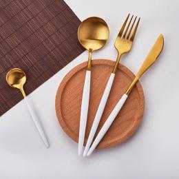 Gorąca Sprzedaż 4 sztuk/zestaw White Gold europejskiej nóż Obiadowy 304 Ze Stali Nierdzewnej Zachodniej Sztućce Zestaw Kuchnia Ż