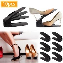 10 sztuk organizer na obuwie podwójne pudełka na buty stojak regulowany oszczędność miejsca zakres do przechowywania butów półka