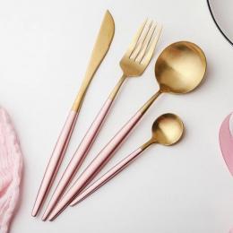 Gorący różowy złoty stołowe obiadowy zestaw 304 zachodniej sztućce ze stali nierdzewnej naczynia kuchenne żywności widelec nóż S