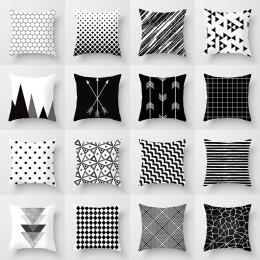 Geometryczne poszewka czarny i biały poliester rzuć poszewka na poduszkę w paski przerywana siatki trójkątne geometryczne sztuki