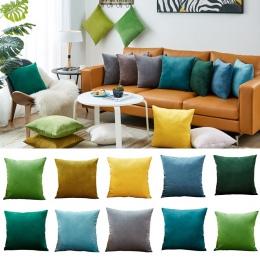 26 kolorów poszewka na poduszkę aksamitna poszewka do salonu Sofa 45*45 Kussenhoes niebieski domu dekoracyjne Housse De Coussin