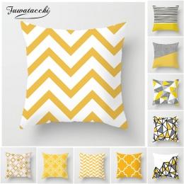 Fuwatacchi geometryczne poszewki na poduszki żółty i szary diament Wave poszewka na poduszkę na krzesło domowe ozdoba sofy kwadr