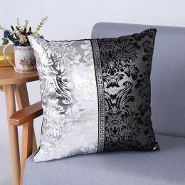 Meijuner w stylu Vintage czarny srebrny kwiatowy poszewka poszewka na poduszkę na samochód Sofa Decor poszewka na poduszkę podus