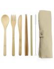 6 PC przenośny zestaw obiadowy japoński bambus sztućce widelec-nóż-łyżka pałeczki podróży łyżeczka łyżka słomy kuchnia zastawa s