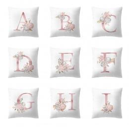 45x45 cm dekoracja pokoju dla dzieci list poduszka pokrywa alfabetu angielskiego poszewka kwiat kussenhoes housse de coussin