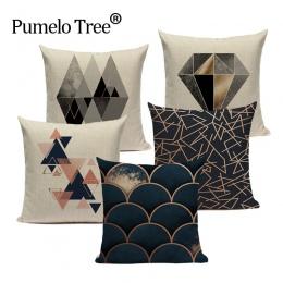 Geometryczne czarny niebieski poduszki Cove tekstylne Hill złota Dero rzuć poduszki obejmuje 45 Cm x 45 Cm kwadratowa sofa łóżko