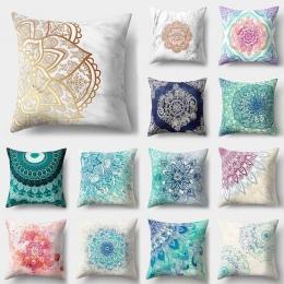1 sztuk Mandala wzór niebieski poliester rzut poduszka ozdobna poszewka na poduszkę wystrój dekoracja wnętrza na sofę Poszewka d
