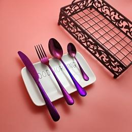 Hot 4 sztuk tęczy fioletowy zestaw obiadowy wysokiej jakości ze stali nierdzewnej nóż widelec łyżka sztućce kuchenne jedzenie za