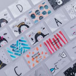 Uroczy list, kaktus, dziewczyna, czarny niedźwiedź, rybki pvc etui na karty zwierząt karty IC karty kredytowe karty studenckie f