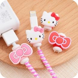 Kawaii Hello kitty kabel USB słuchawki Protector. cartoon pokrywa dla iPhoneSE/5S 6/6 s Android kabel linia danych rękaw ochronn