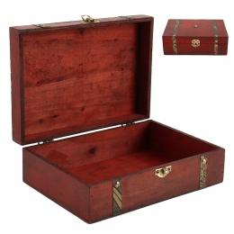 Gorące drewniane w stylu Vintage blokada skarb klatki piersiowej szkatułka na biżuterię pudełko Case organizator pierścień preze