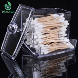 Przezroczyste akrylowe waciki bawełniane kije uchwyt skrzynki kosmetyczne pudełko do przechowywania makijaż organizator Case prz