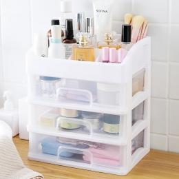 Makijaż organizator szuflady plastikowe kosmetyczne pudełko do przechowywania biżuteria pojemnik kuferek kosmetyczny pędzel do m