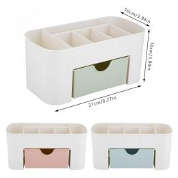 Makijaż organizator pudełko do przechowywania pędzle do makijażu pojemnik na biurko szuflada na kosmetyki waciki bawełniane uchw