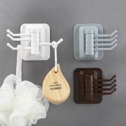 Obrotowy 4-hak kuchnia łazienka wieszak ścienny wieszak na ręczniki wieszak na ręczniki bez śruby i bez prowadnic hak drop shipp