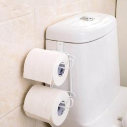 Żelaza 2 warstwy papier toaletowy haki papieru półka łazienka wiszący organizer trwałe drzwi do kredensu kuchennego uchwyt na rę